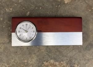 Desk Clock with Wooden Card Holder