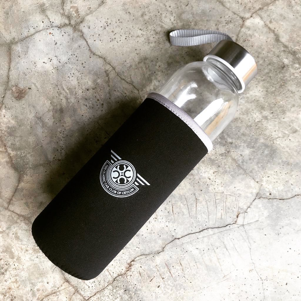 CUSTOMIZED GLASS BOTTLE WITH CASE ( GRAY LINE SLEEVE)