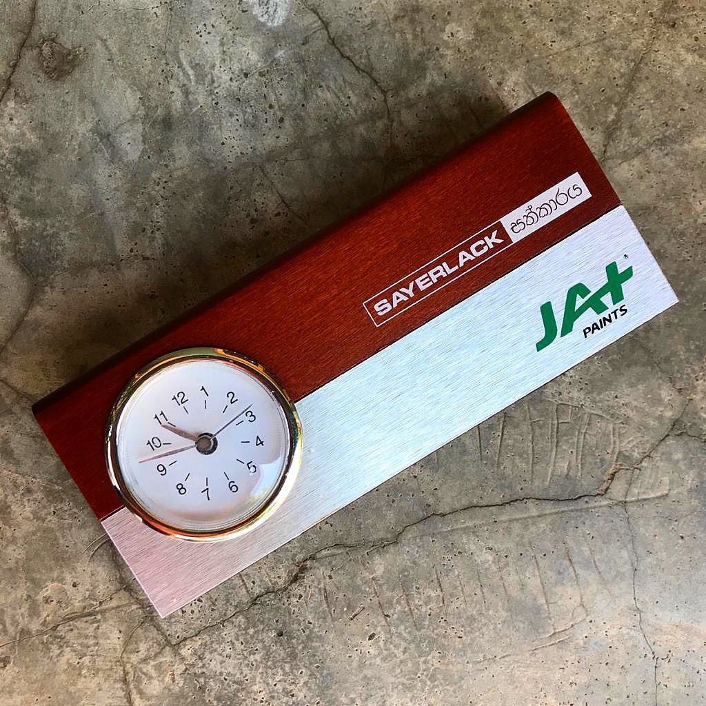 CUSTOMIZED DESK CLOCK WITH WOODEN CARD HOLDER